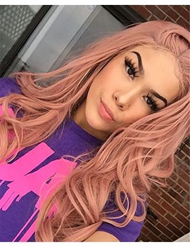 Musegetes Orange Pink Mixed Color Lace Front Wig Glueless Long Curly Natural Hairline Full Wavy Thick Peach Pink Synthetic Lace Front Wig For Women... by Musegetes