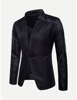 Men Jacquard Single Button Blazer by Sheinside