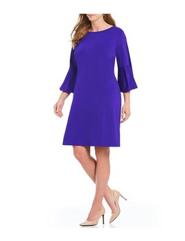 Plus Size Ribbed Knit Flounce Sleeve Dress by Generic