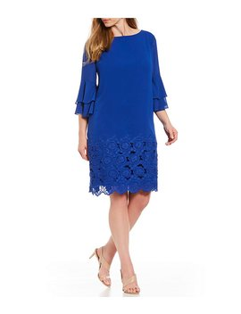 Plus Size Tiered Bell Sleeve Embroidered Shift Dress by Generic