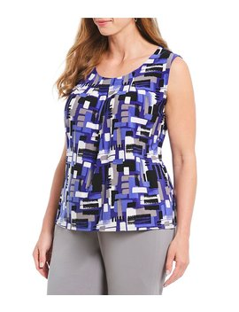Plus Size Knit Brush Stroke Print Top by Generic