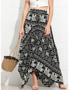 Asymmetrical Hem Elephant Print Skirt by Sheinside