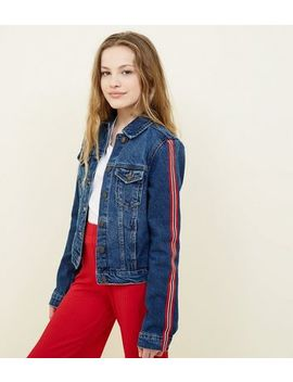 Girls Navy Stripe Side Tape Sleeve Denim Jacket by New Look
