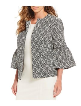 Plus Size Abstract Diamond Print Bell Sleeve Jacket by Generic