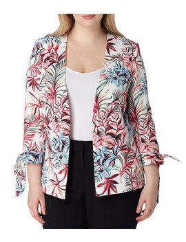 Plus Size Star Neck Printed Jacket by Generic