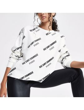 White 'Rue Saint Dominique' Print Sweatshirt by River Island
