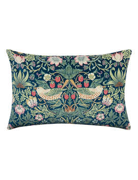 Morris & Co. Strawberry Thief Velvet Cushion, Multi by Morris & Co.