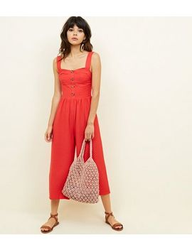 Red Button Through Culotte Jumpsuit by New Look