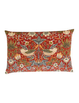 Morris & Co. Strawberry Thief Velvet Cushion, Red by Morris & Co.