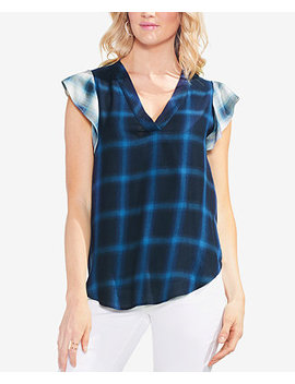 Plaid Flutter Sleeve Top by Vince Camuto