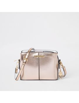 Gold Triple Compartment Cross Body Bag by River Island