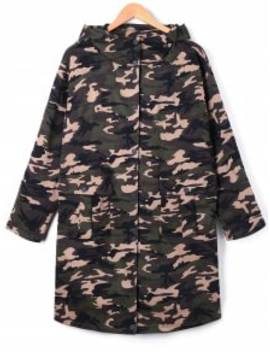 Plus Size Flap Pockets Hooded Camouflage Coat   Acu Camouflage 5xl by Zaful