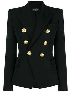 Embossed Button Blazer by Balmain