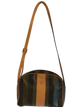Penguin Stripe Camel Brown And Black Coated Canvas Leather Shoulder Bag by Fendi