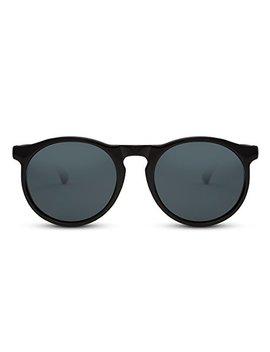 Cheapass Sonnenbrille Schwarz Blau Rund Verspiegelt Retro Unisex by Amazon