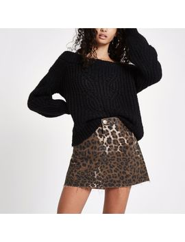Brown Leopard Print Denim Mini Skirt by River Island