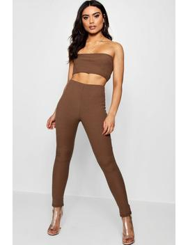 Bandeau Crop Legging Knitted Set by Boohoo