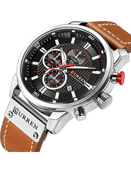 Fashion Business Quartz Men's Watch Casual Chronograph Sport Wristwatch With Calendar by Crrju