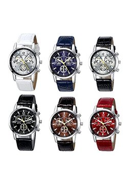 Yunanwa 6 Pack Men's Leather Quartz Watch Geneva Boys Casual Dress Wrist Band Watches Wholesale Lots Set (6pcs C005) by Yunanwa