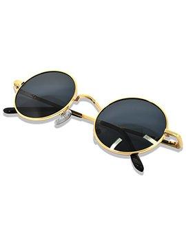 Whcreat Uralt Retro Unisex Rund Polarisierte Sonnenbrille Federscharnier Metall Rahmen Uv 400 Schutz Für Männer Frauen (Spiegel Farbige Linse Verfügbar) by Amazon