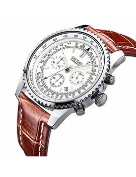 Megir Wrist Men Work Watch Analog Quartz Chronograph Waterproof Stylish Business Watch With Leather Band by Megir