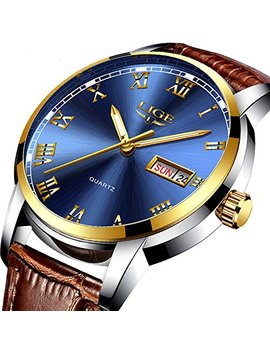 Men's Quartz Watch Classic Casual Brown Leather Strap Wrist Watch Date Display by Lige