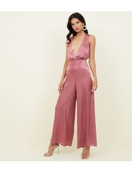 Mid Pink Satin Plunge Neck Jumpsuit by New Look