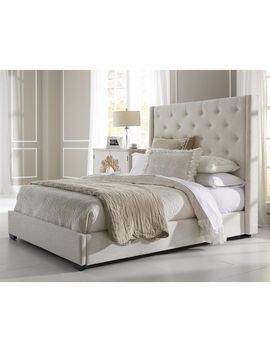 Wingback Button Tufted Cream Queen Size Upholstered Bed by Generic