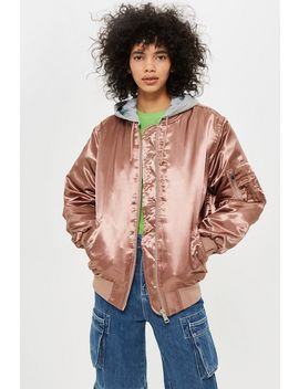 Oversized Longline Bomber Jacket by Topshop