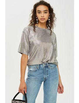 Oversized Foil T Shirt by Topshop
