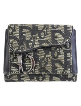 Trotteur Trifold Wallet 5de107 Blue Canvas Clutch by Dior