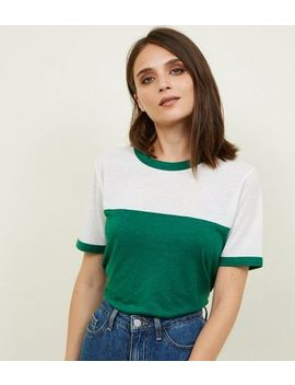 Green Colour Block Ringer T Shirt by New Look