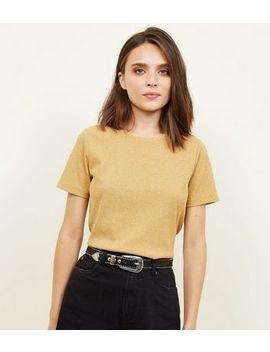 Mustard Metallic Ribbed Boxy T Shirt by New Look