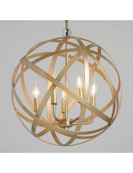 Antique Brass Orb 5 Light Chandelier by World Market