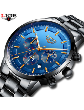 Lige Mens Watches Top Brand Luxury Men's Sports Military Watch Men's Stainless Steel Waterproof Quartz Watch Relogio Masculino by Lige