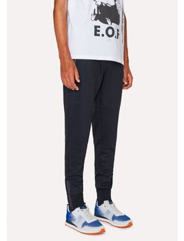 Men's Dark Navy Cotton Blend Panelled Sweatpants With Cycle Stripe Detail by Paul Smith