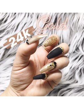 Matte Black 24 K Gold Glitter Chrome Swarovski Crystal Nail | Press On Nails | Any Shape | Fake Nails | Christmas | Holiday Nails | New Year by The Nailest
