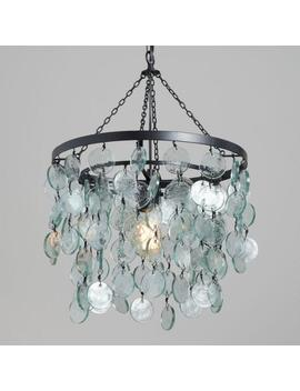 Aqua Draped Sea Glass Disc Pendant Lamp by World Market