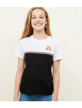 Girls Black Nyc Tape Trim T Shirt by New Look