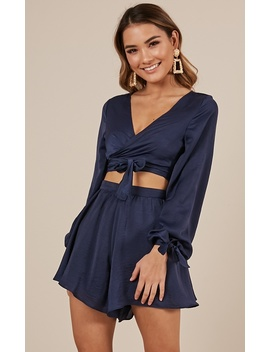 Close Encounter Two Piece Set In Navy by Showpo Fashion