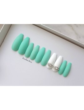 Dark Mint Press On Nails   White Accent With Crystals   Coffin Stiletto Almond Oval Round   Long Medium Short Bm by Inoakarolina