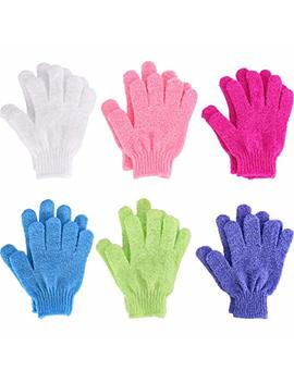 6 Pairs Double Sided Exfoliating Gloves Body Scrubbing Glove Bath Scrubs For Shower, 6 Colors by Hotop