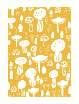 Forest Mushrooms Yellow Print by Sam Ossie