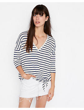 Express One Eleven Striped Tie Hem V Neck London Tee by Express