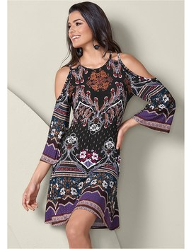 Cold Shoulder Printed Dress by Venus