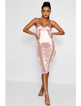 Polly Satin And Mesh Insert Midi Dress by Boohoo