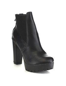 Breckelle's Hanna 11 Women's Platform Chunky Heel Lug Sole Chelsea Ankle Booties by Breckelle's