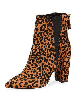 Allure Chunky Heel Booties, Leopard by Neiman Marcus