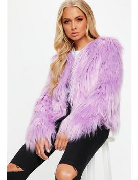 Lilac Collarless Shaggy Coat by Missguided
