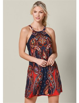 Paisley Printed Mini Dress by Venus